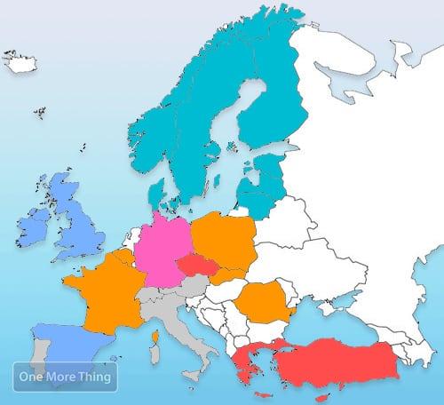 iPhone dichtheid in europa