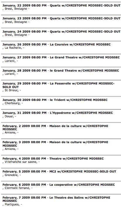 Concert dates Yann Tiersen 2009
