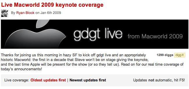 Screendump van GDGT live