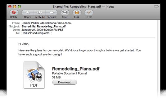 iDisk share mail