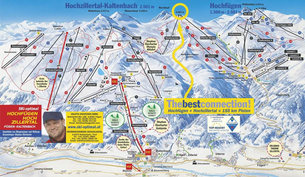 Hochzillertal Hochfugen pistekaart (klik voor grote versie)