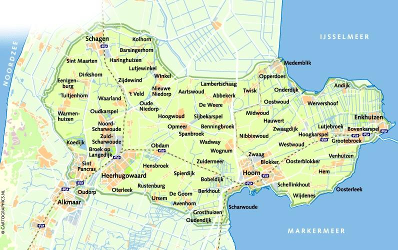 West-Friesland, kaartje