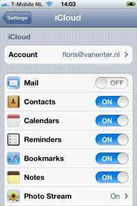 iPhone instellingen iCloud