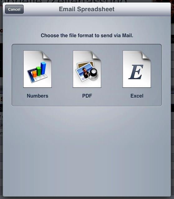 Numbers, PDF en Excel export