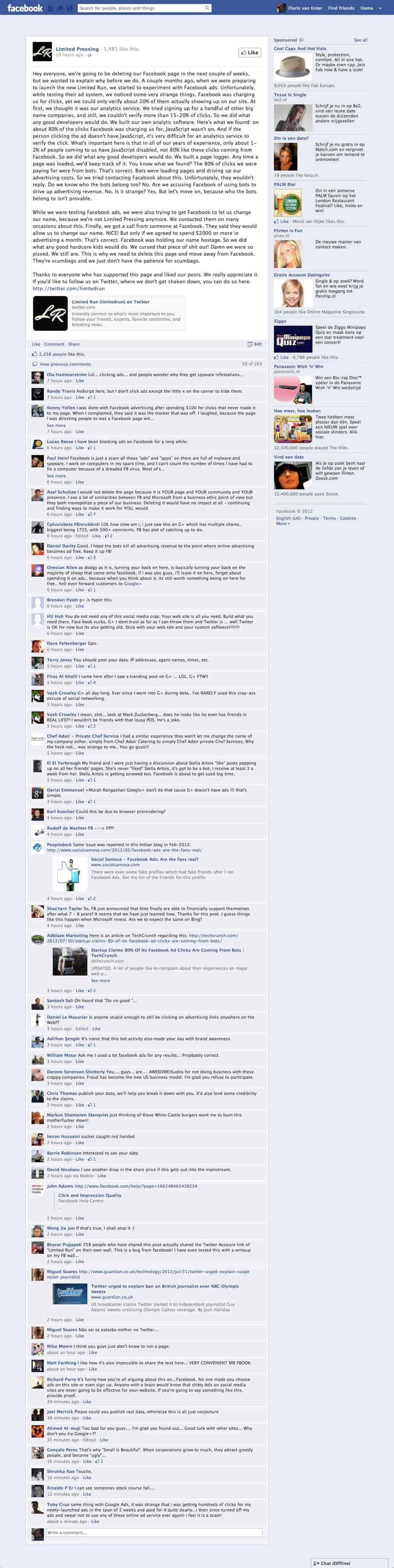 Company Facebook Ads complain