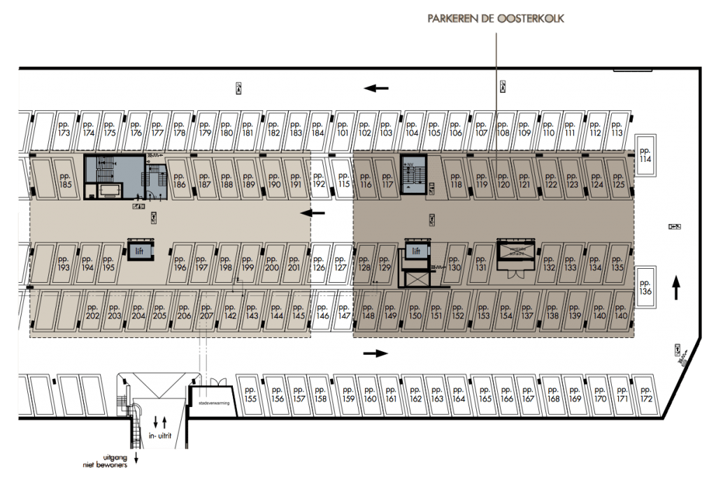 De parkeergarage onder de Oosterkolk en Westerkolk