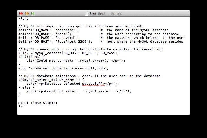 Code MySQL test, klik op het plaatje voor de tekst versie.