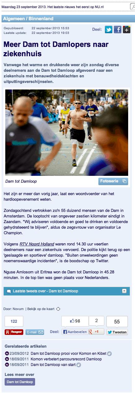 Nu.nl: Meer damlopers naar het ziekenhuis