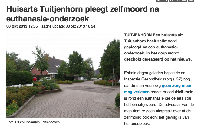 Huisarts Tuitjenhorn pleegt zelfmoord na euthanasie-onderzoek (20131014) thumb