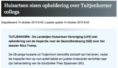 NHD: Huisartsen eisen opheldering over Tuitjenhorner collega (20131014)