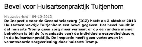 Inspectie voor de Gezondheidszorg - Bevel voor Huisartsenpraktijk Tuitjenhorn