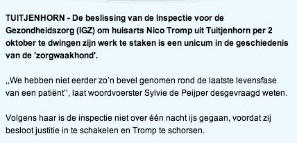 Noordhollands Dagblad: Unieke schorsing Tuitjenhorner huisarts gehuld in nevelen (20131014) thumb