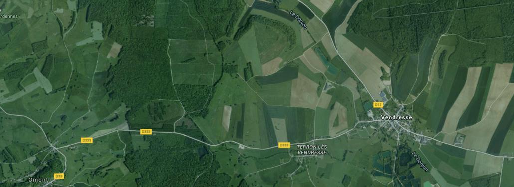 Vendresse, Frankrijk op de Google Maps satelliet
